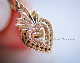 LAST ONE - Sacred Heart Necklace - Natural Bronze Pendant Charm - 14K Gold Filled Delicate Chain - Insurance Included