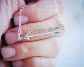 Arrow Festoon Necklace - Sterling Silver Sideway Pendant Charm - Free Domestic Shipping