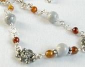 Necklace Magnesite Hessonite Garnet Silver Filled