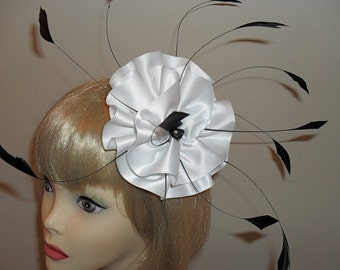 Custom Made Hair Accessory,Feather Fascinator,Bridal Fascinator,Hair Clip ,White Satin and Burnt Coque Feathers,Bridal Headpiece,Pin Up,Prom