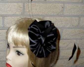 Ready To Ship Two in One Black Feather Headband with Detachable Black Satin Rosette,Floating Burnt Black Coque Feathers,Gothic,Gothic Pin Up