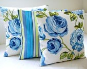 16 inch decorative pillow cover large blue roses, green leaves floral cushion cover, blue green stripe