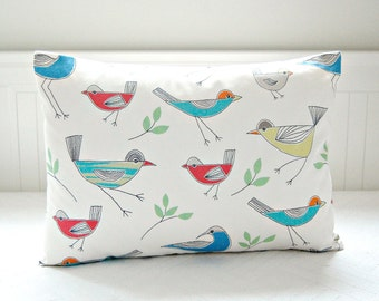 birds decorative pillow cover, red blue orange yellow 16 inch cushion cover