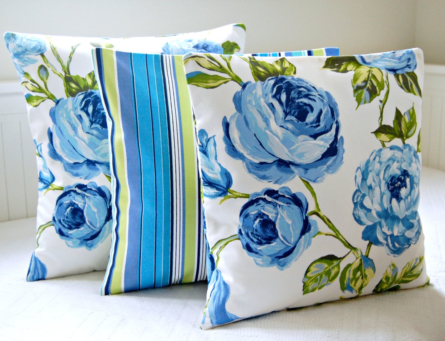 Large Blue Decorative Pillows : 16 inch decorative pillow cover large blue roses green leaves