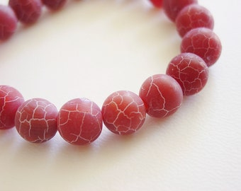Blood Orange / Ruby Red Grapefruit / Matte / Agate / Crackle / Crackled / Fire Crackled / Bracelet / Agate Bracelet / Chunky / Stone / Fall