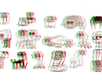 A Stereoscopy of Cyclopses - Collective Noun No. 1 (risograph print)