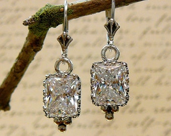 Vivienne Earrings - Sterling silver Earrings with Radiant Emerald cut CZ and Tiara Crown Bezel