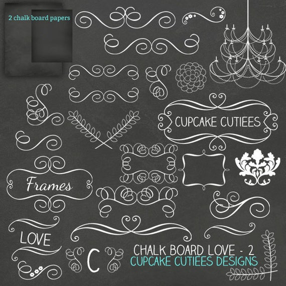 Home Design Ideas Blackboard: ChalkBoard LOVE Set 2 Digital Clipart Elements And Papers
