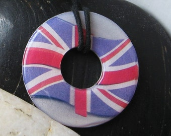 Union Jack Flag Upcycled Papers Washer Pendant Necklace Unique Gift