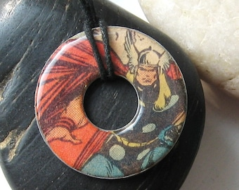 THOR Vintage Comic Book Upcycled Washer Hardware Pendant Necklace Marvel Super Hero The Avengers Design 6