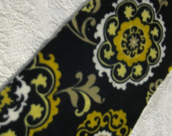 Five Buck Fleece Scarf Blow Out  at SylMarCreations! * Art Print  Mandalas Filigre in Black and Yellow  - Winter Fleece Scarf