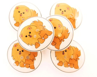 """6 Pomeranian Dog Handmade Buttons.  6 sewing buttons. 3/4"""" or 20 mm round."""