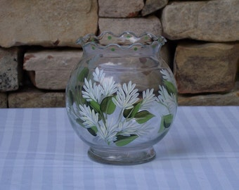 Hand Painted Glass Vase with White Stock Flowers