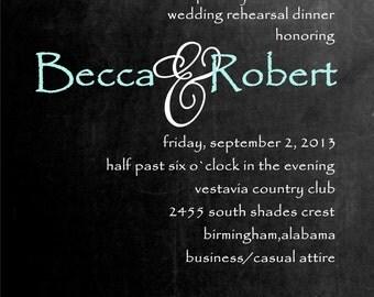 Rehearsal Dinner invitation elegant chalkboard invitation handmade invite wedding bridal dinner invitation