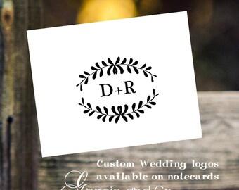 wedding logos custom original hand made personalized logos bridal notecards monogram stationery  thank you notes