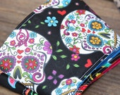 STORE CLOSING - Fabric Coffee Cozy / Coffee Sleeve - La Celebration Black - Tea Cozy, gift, stocking stuffer under 10 dollars