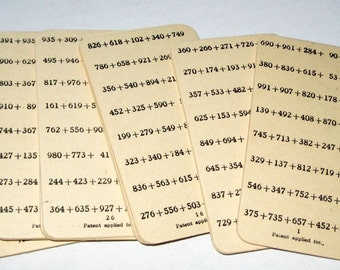 10 Vintage Educational Addition Practice cards for Altering, Tags, etc