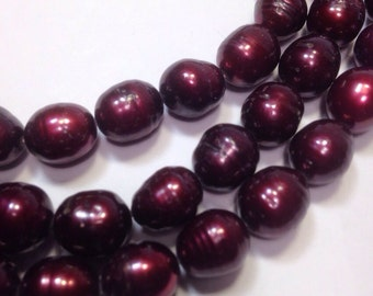"""Rice Pearl Baroque Pearl Freshwater Pearl burgundy red wine 9X11mm----16"""" full strand 36 pc #DR3021"""