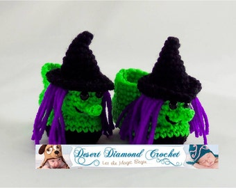 Crochet Pattern 087 - Witch Baby Booties - 5 Sizes