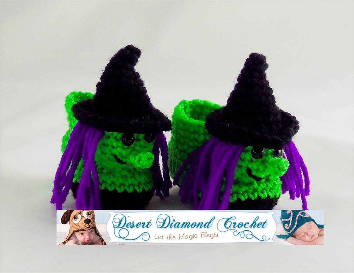 Crochet Pattern For Baby Witch Hat : Crochet Pattern 087 - Witch Baby Booties - 5 Sizes