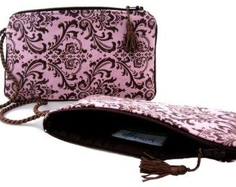 Wristlet - Damask clutch handbag in pink and brown