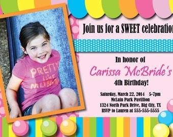 Custom Candy Shoppe Birthday Party Invitation