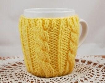 Lemon Hand Knit Coffee Mug Coaster Cozy Cable Rib