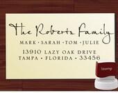 Calligraphy Handwriting Script Custom Return Address Stamp - Personalized SELF INKING Wedding Stationery Stamper - Style 9013