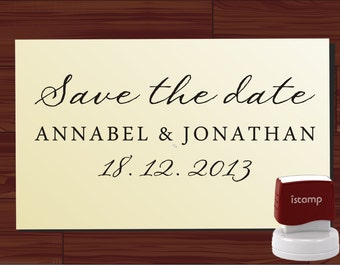 SAVE THE DATE modern design Calligraphy Handwriting Script font self inking stamp -style 6056  - custom wedding stationary