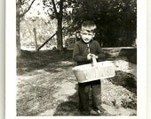 1950 Vintage Snapshot Photo Little Boy With Basket Ready For Berry Picking Photograph