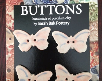Hand painted porcelain butterfly buttons