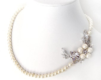 Vintage Style Pearl Vine Necklace - Rhinestone Asymmetrical - Sterling SIlver - Ivory or White