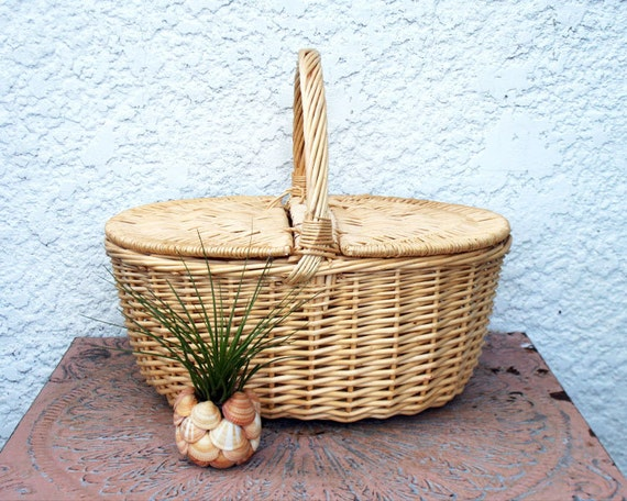 Woven Basket With Hinged Lid : Lightweight double hinged lid wicker picnic basket