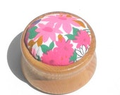 Pincushion Wooden Base Non Slip Ring Vintage Pink Floral Print
