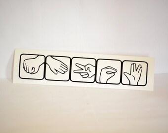 Rock Paper Scissors Lizard Spock Precision Cut Vinyl Car Window Decal Sticker for Big Bang Theory Fans