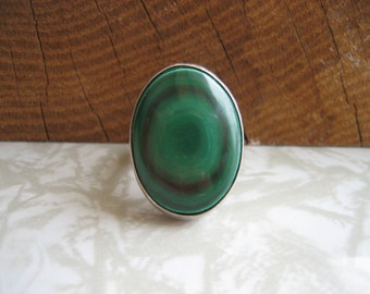 Vintage MALACHITE MEDALLION .925 Sterling Silver Ring