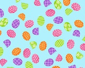 Easter Fabric Just Hatched Easter Egg Print in Blue 1/2 Yard