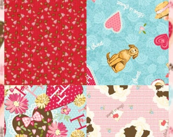 Valentines Holly Hobby Fabric 5 Piece Fat Quarter Set