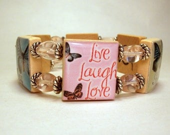INSPIRATIONAL JEWELRY / SCRABBLE Bracelet / Unusual Gifts / Handmade Jewelry / Butterfly / Live Laugh Love, Joy, Hope
