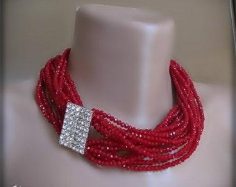 Red crystal chunky layered necklace, rhinestone closure , bib pendant, bridesmaid, Bridal wedding,