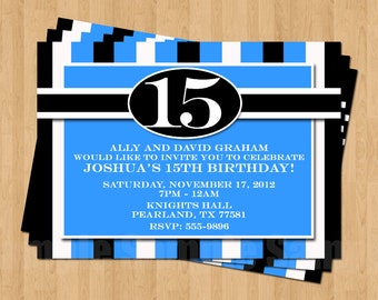 13th 15th 16th Birthday Boy or Any AGE Adult Birthday Party Invitation .JPEG File ANY Colors