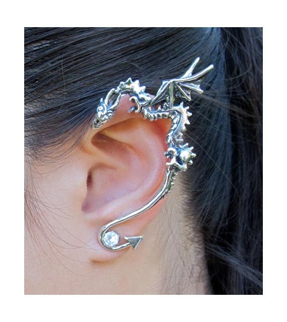 Dragon ear wrap silver dragon ear cuff dragon earring - Game of thrones dragon ear cuff ...