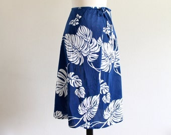 70s DeWeese Design Floral Wrap Pin Up Rockabilly Swim Cover Skirt . XS . S . D024. No.482.9.11.13
