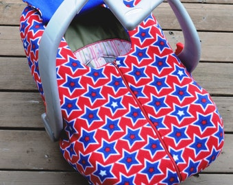 Carseat Cover for Baby, Infant, Newborn - Stars in Red White and Blue, Military Baby Gift