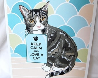 Keep Calm Tabby Cat with Scaled Background - 8x10 Eco-friendly Print