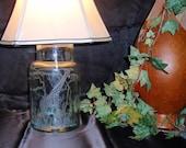 Giraffe Glass Lamp - Green, Hand Carved Glass, African Animal, Art, Safari, Home Décor, Wedding Gift Signed by Artist