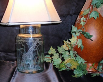 Giraffe Glass Lamp - Green, Hand Carved Glass, African Animal, Art, Safari, Home Décor, Wedding Gift Signed by Artist