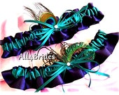 Peacock weddings bridal garters lapis and teal, peacock feathers bridal accessories or prom garters