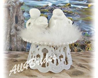 Love Birds Wedding Cake Topper, White Birds Cake Topper