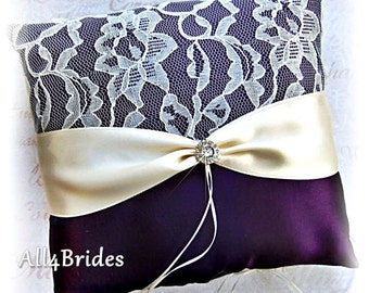 Wedding Ring Pillow eggplant purple and ivory lace wedding ring bearer cushion